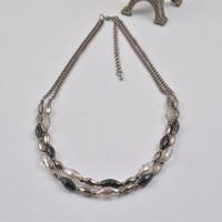 N14111-01Women's Crystal CCB Beads Statement Necklace Blogger Choker Gun Black