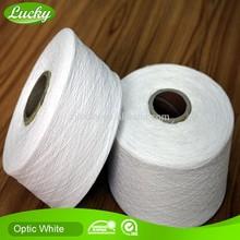 Blanqueado blanco hilo de algodón reciclado, precio barato