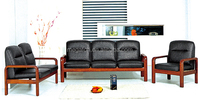 Guangzhou factory office leather and wood sofa furniture designs pictures(FOH-6668)