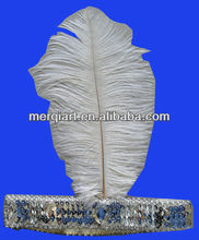 FLAPPER Headband 20's Charleston White Feather Silver Band