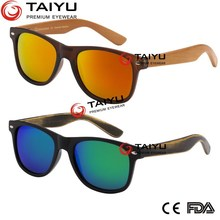 Newest design Bamboo Sunglasses with PC frame Wooden sunglasses Spring Arms small order italian brand CE12312-1:2013(2202)