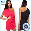 Yihao Women dress design Sexy Oblique Strapless Pleated Pure Color Chiffon sexy dress fabric