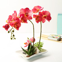 1pcs high-end wedding decoration rose red artificial orchid flowers silk flower false water potted wedding decoration wholesale