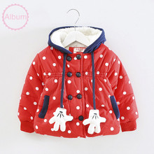 2015 red Christmas baby winter warm clothes Christmas designed white spot and gloves decorated baby coat 2 color
