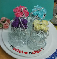 Wholesale Iron birds cage Wedding Favor Box/ Chocolate Candy Box with Rose Decorations