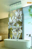 Latest natural best price premium flowers glass mosaic tile mural