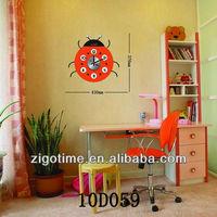 PVC wall sticker painting beetle decor wall clock