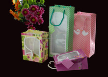 gift packaing paper bag with window, promotional bag