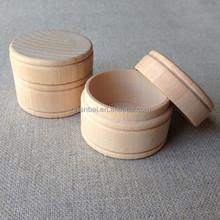 Custom unfinished small round wooden jewelry keepsake boxes,round box wood
