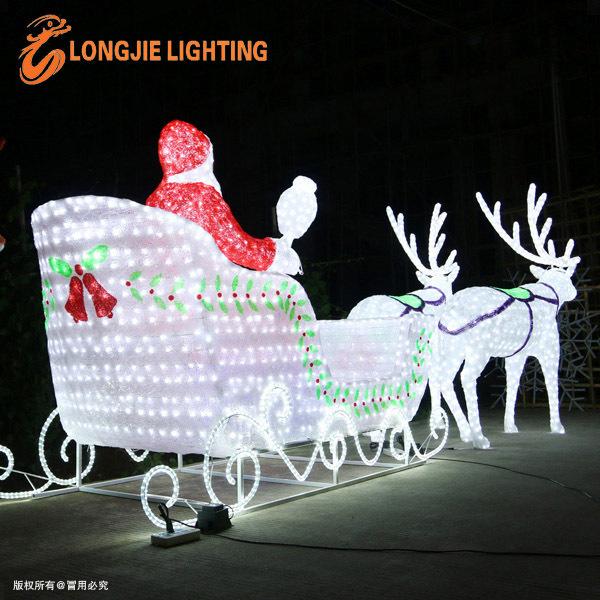 Santa Claus led lumière de noël extérieur sculptures led 3D cerfs ...