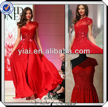 PP0270 Beaded One Shoulder Long Red Chiffon Elie Saab Evening Dress 2014
