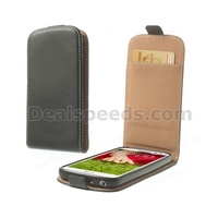 Black Smooth Leather Vertical Flip Case w/ Card Slot Leather Cover for LG G2 Mini D610 D618 D620