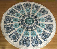 Round Towel Mandala Design Tassels and High Quality, 480GSM Cotton Velour Throw Towel Beach and Bath Towel