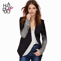 HAODUOYI Women PU Patchwork Causal Blazer Single Buttom Sequins Sleeves Costs for Wholesale