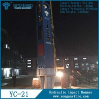 YC21 hydraulic impact hammer Concrete pile machine Hammered steel sheet
