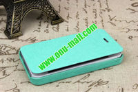 New Arrival Flip Leather Case for iPhone 4/4S with Hard Back Cover (Blue)