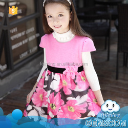 New products 2016 innovatine baby clothes new style flower printed girl fashion wedding dress