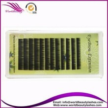 Hot sale!!! all color korea PBT fiber 4-8 mm I curl and straight curl customer logo eyebrow extension