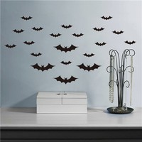 Colorcasa removeable wall sticker decorative vinyl wall paper Halloween bats wall paper festal art home decor(ZY702)