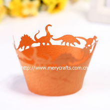 """2013 new products made in China! laser cut """"dinosaurs"""" cupcake wrappers for party decoration from Mery Crafts"""