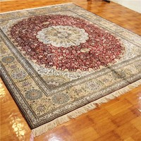 8 x10ft Aulic Rich Red Silk Carpet Persian Hand Made Rug Oriental Rugs Online