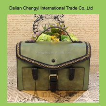 Wholesale vintage air square pattern pu leather shoulder bag with ladle cover