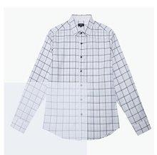 classic white and blue casual V-neck 100% cotton plaid brand men shirt