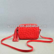Genuine Ostrich mini fringe satchel bag_ostrich leather cross body bag