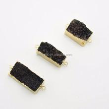 141205005 Druzy Rectangle Connector.Double Bail Bar Druzy Pendant .Gold Electroplate Edge