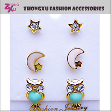 latest ladies fashion and beautiful custom owl star and moon earrings set