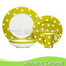 2015 New R Shape Lime Green Dots Pattern Contemporary Tableware Dinner Sets / Porcelian Dinnerware Gift Sets
