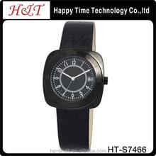 IP Black Leather Men's Stainless Steel Watch OEM
