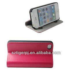 Waterproof and Durable Unicolor Stand Style Leather Cover Case for Iphone 4s