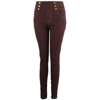 2015High-Waisted Trousers ladies trouser ,Fashion twill woven leggings,ladies trouser cutting