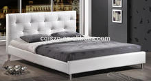 2015 Fashion and contracted bedroom furniture pu bed white leather bed with crystals