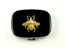 Pill case bee steampunk gothic victorian oval metal pill box