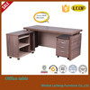 Linear wooden office desk with 50mm thickness wooden legs