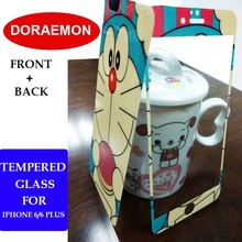 Cute Cartoon Doraemon Creative Front Back Screen Protector For iPhone 6 6 Plus Tempered Glass Colorful