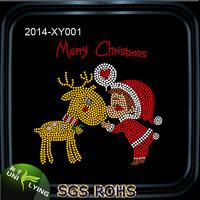 Lovely Little Santa And Deer Strass Motif Hotfix Rhinestone Design