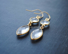 E15013002 Clear Crystal Dangle Pendant Earrings With Gold Plated