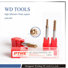Eco freindly Germany standard PTHK square type end mill for hardend carbon steel