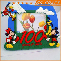 lovely rubber photo frame decorated with all kinds of animals and cartoons/rubber photo frame