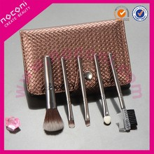 Custom promotion 5 Pieces Make up Brush Set Nylon Hair Private Label Make up Brush Kit with Golden Cosmetic Bag