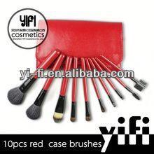 Hot Sale! Red Case 10pcs Makeup Brush set color shine makeup brushes cosmetic brands
