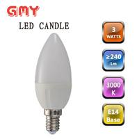 Plastic clad aluminum dimmable E14&E27 led candle light