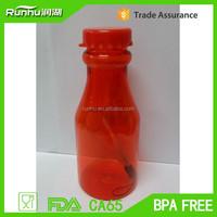Custom Logo PETE plastic clear pop shape bottle BPA free RH208-350