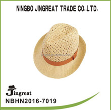 new summer men beige weave have orange cummerbund Paper braid hat