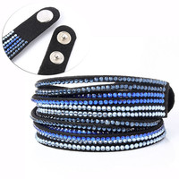 Mix Color Rhinestone Bling Wrap Bracelet Korean Velvet With Drill Slake Wrap leather Bracelet Bangle