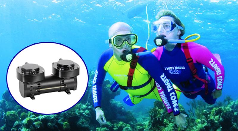 12V Mini Hookah Breathable Dive Pump Oilless Diaphragm Compressor Small Portable Scuba Diving Compressor