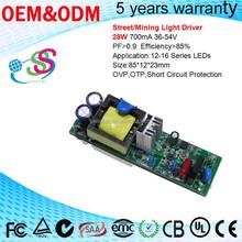 Street Light Mining Light LED Driver 28W 700mA 36-56V AC DC Power Supply high pf led driver